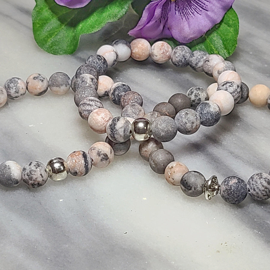 Appreciation, Empowerment, Understanding | Beaded Stretch Bracelet | Pink Zebra Jasper Gemstone - Alora Boutique