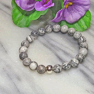Grey Jasper Gemstone Bracelet Canada | Gentleness, Comfort and Relaxation