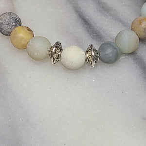 Matte Amazonite Gemstone Bracelet | Courage, Compassion, Prosperity - Alora Boutique
