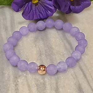 Matte Purple Aquamarine Gemstone Bracelet | Tranquility, Serenity, and Clarity | Beaded Stretch Bracelet