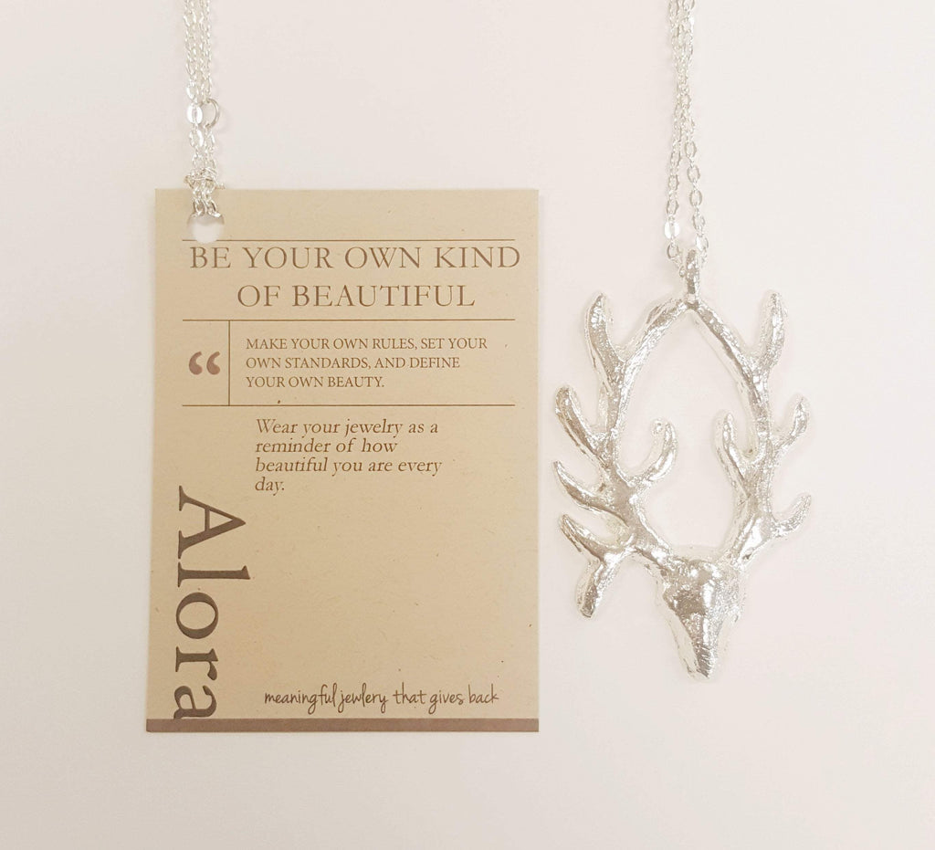 Antelope Pendant Necklace | Recycled Silver | Large - Alora Boutique - Jewelry with meaning that gives back fashion for good