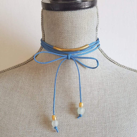 Balance | Suede Wrap Choker Necklace | 5 Color Options | Recycled Beads
