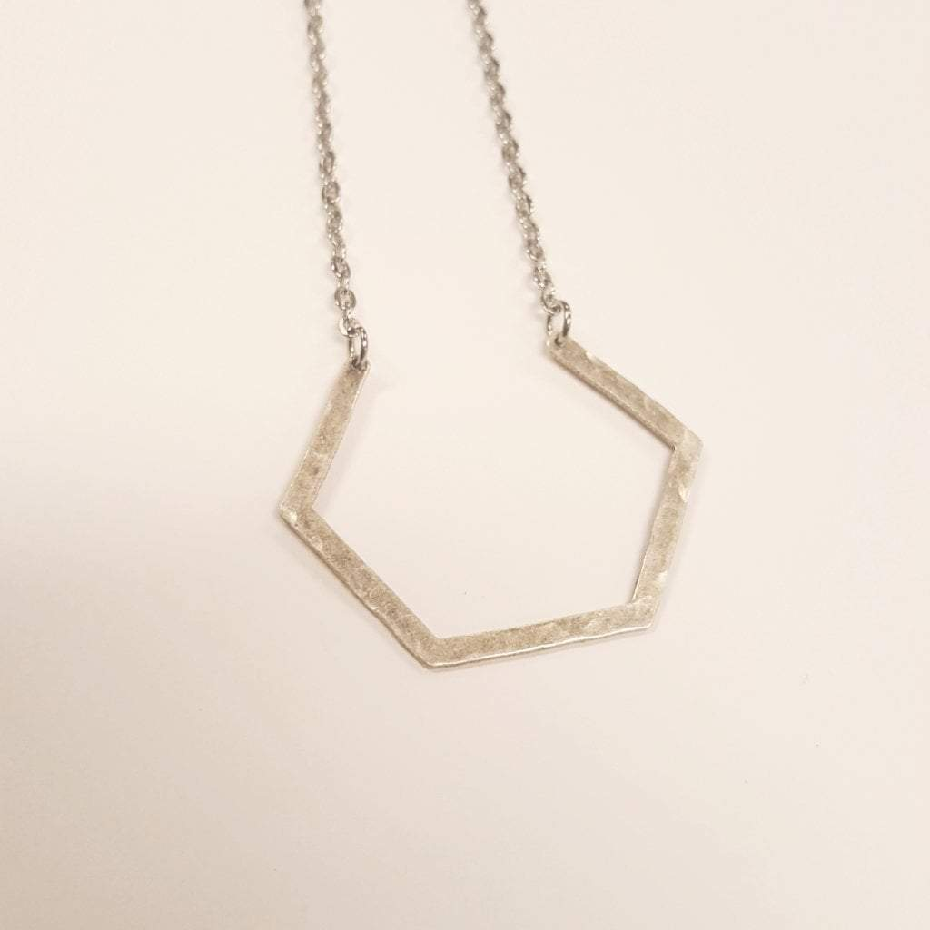 Dare to Be Your Own Person | Layering Hexagon Necklace | Silver - Alora Boutique