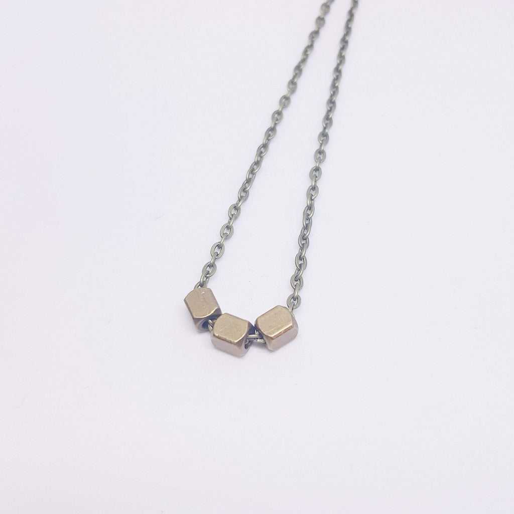 Three Pillars of Wisdom | Delicate |  Recycled Brass Necklace - Alora Boutique