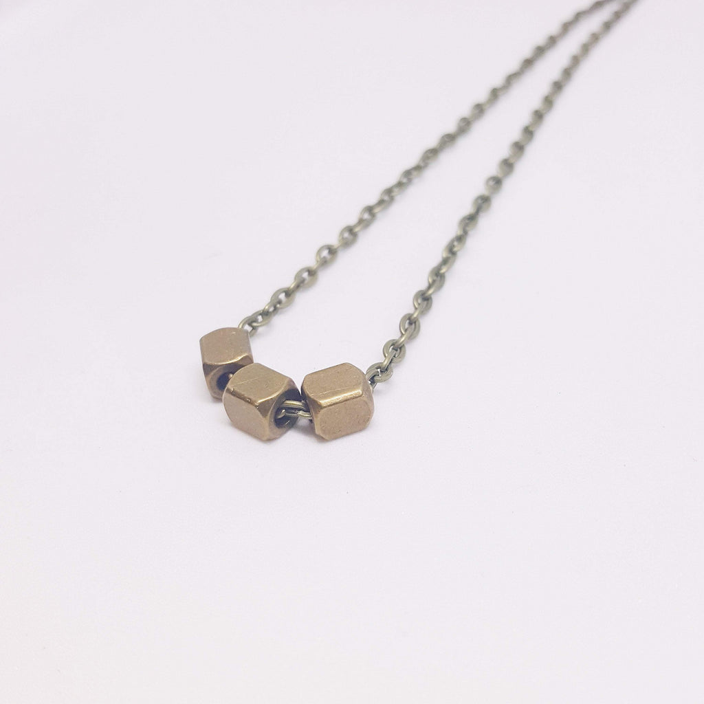 Three Pillars of Wisdom | Delicate |  Recycled Brass Necklace