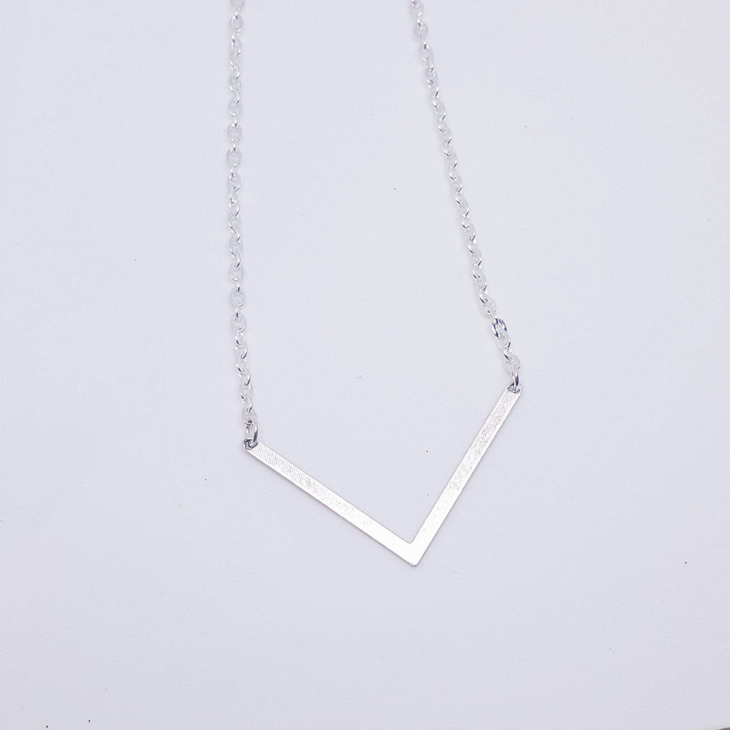Resilience | Deep V Chevron Necklace | Silver