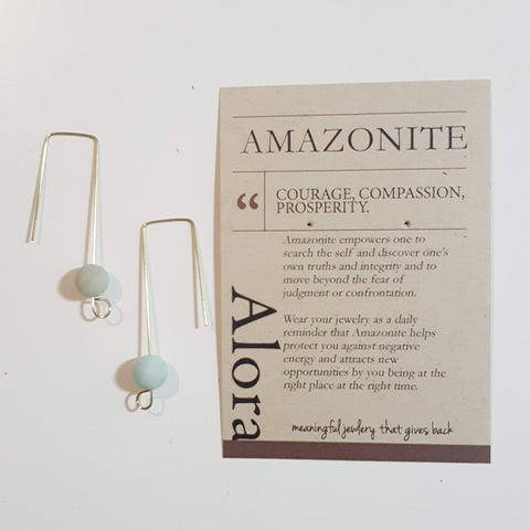 Courage, Compassion, Prosperity | Matte Amazonite Gemstone Geometric Earrings - Alora Boutique - Jewelry with meaning that gives back fashion for good