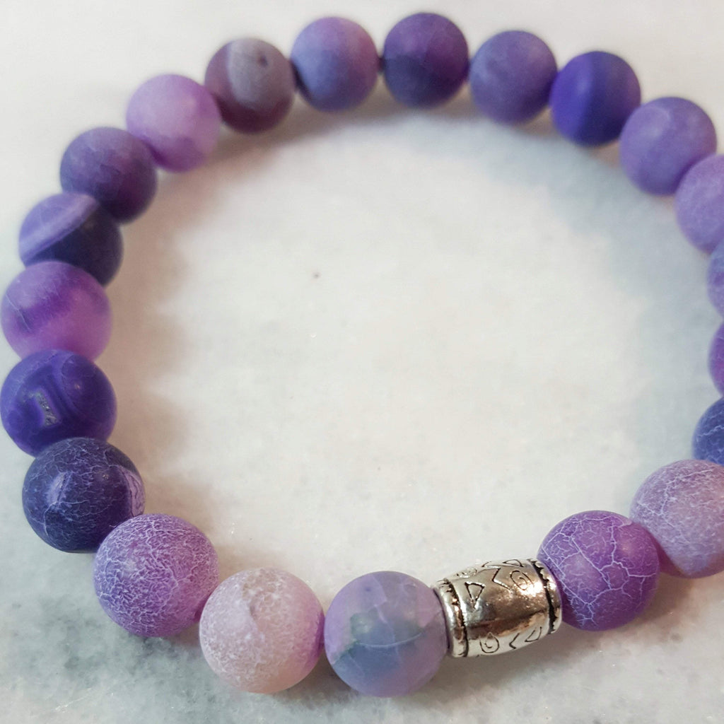 Peace, Serenity, Intuition | Beaded Stretch Bracelet | Purple Jade Gemstone