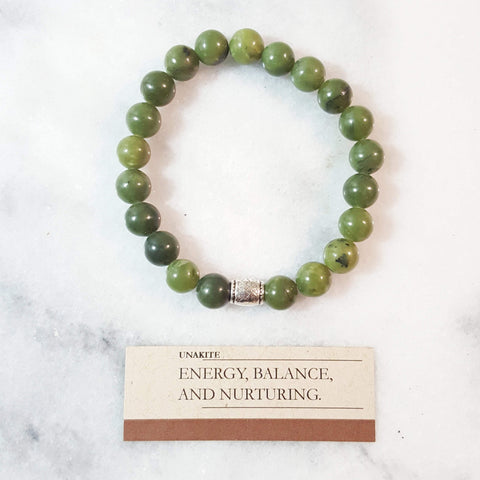 Energy, Balance and Nurturing | Beaded Stretch Bracelet | Unakite Gemstone - Alora Boutique - Jewelry with meaning that gives back fashion for good