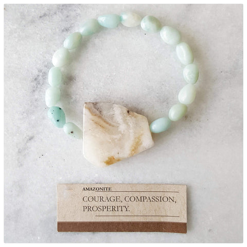 "Vivine ""Courage, Compassion, Prosperity"" Amazonite Gemstone Bracelet"