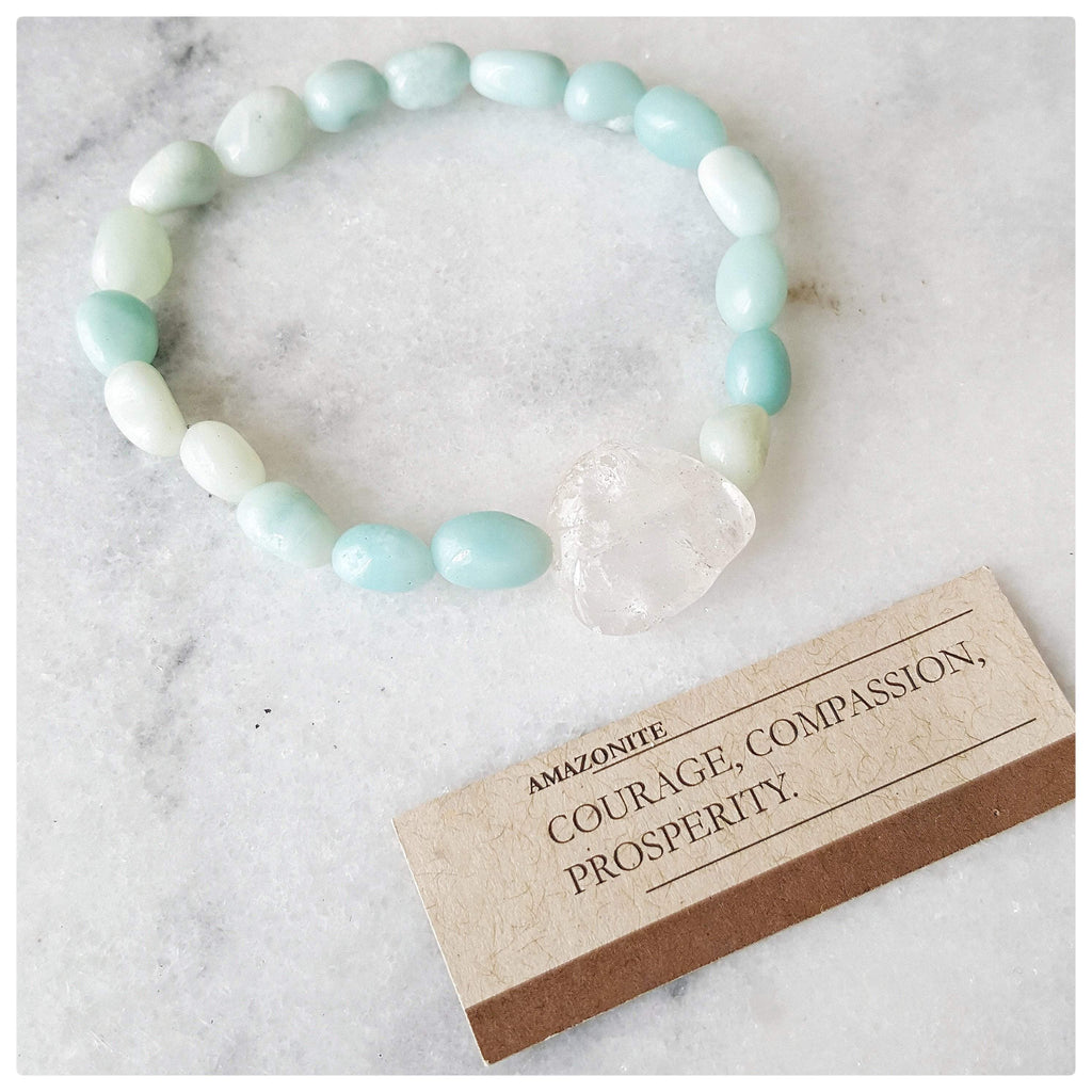 "Vivine ""Courage, Compassion, Prosperity"" Amazonite and Clear Quartz Gemstones"