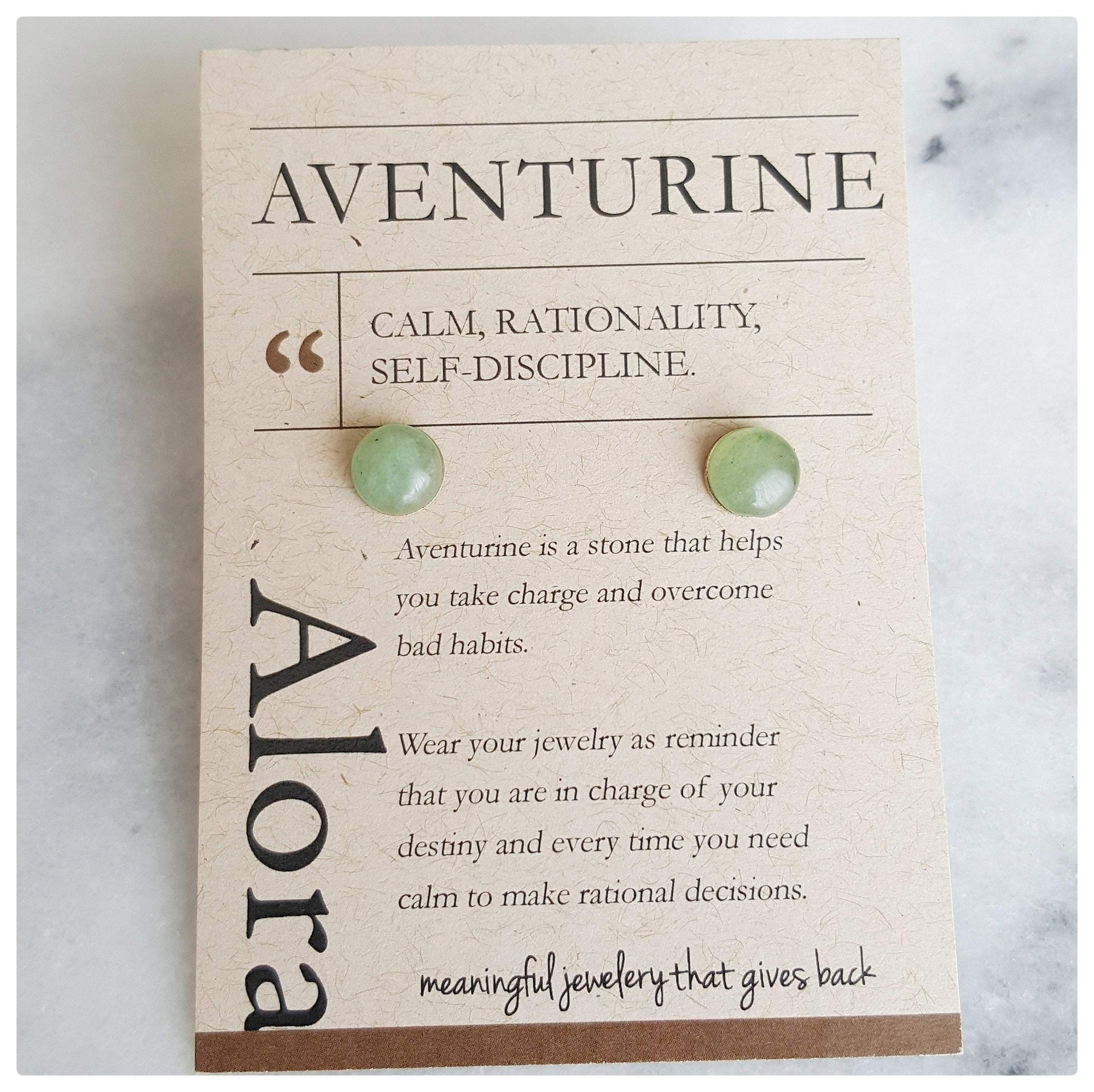 Calm, Rationality, Self-discipline | Stud Earrings | Green Aventurine Gemstone - Alora Boutique - Jewelry with meaning that gives back fashion for good