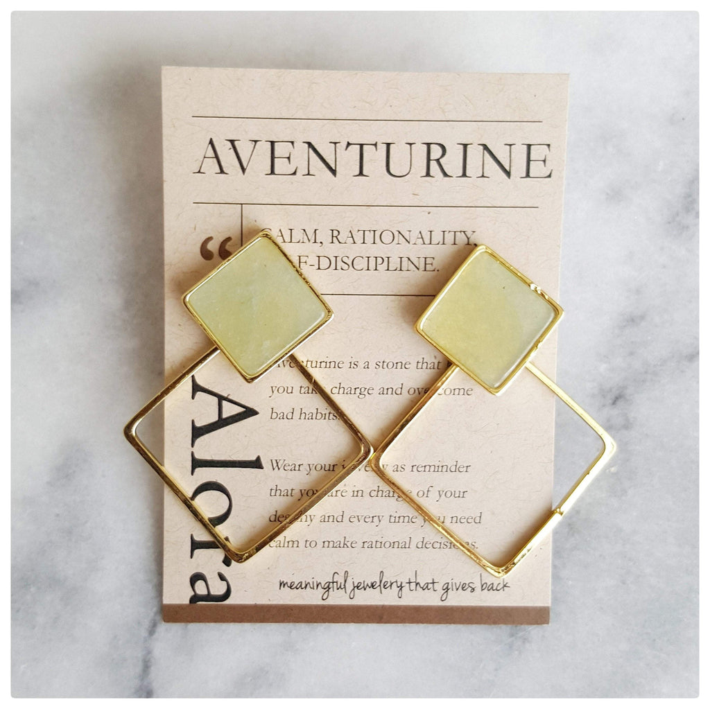 Jira Geometric Square Statement Stud Earrings - Aventurine - Alora Boutique - Jewelry with meaning that gives back fashion for good