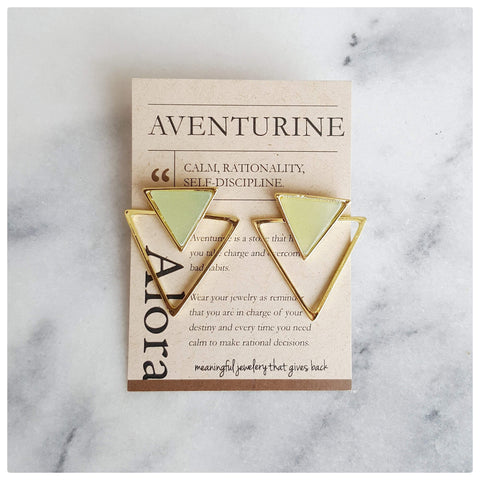 Jira Geometric Triangle Statement Stud Earrings - Aventurine - Alora Boutique - Jewelry with meaning that gives back fashion for good