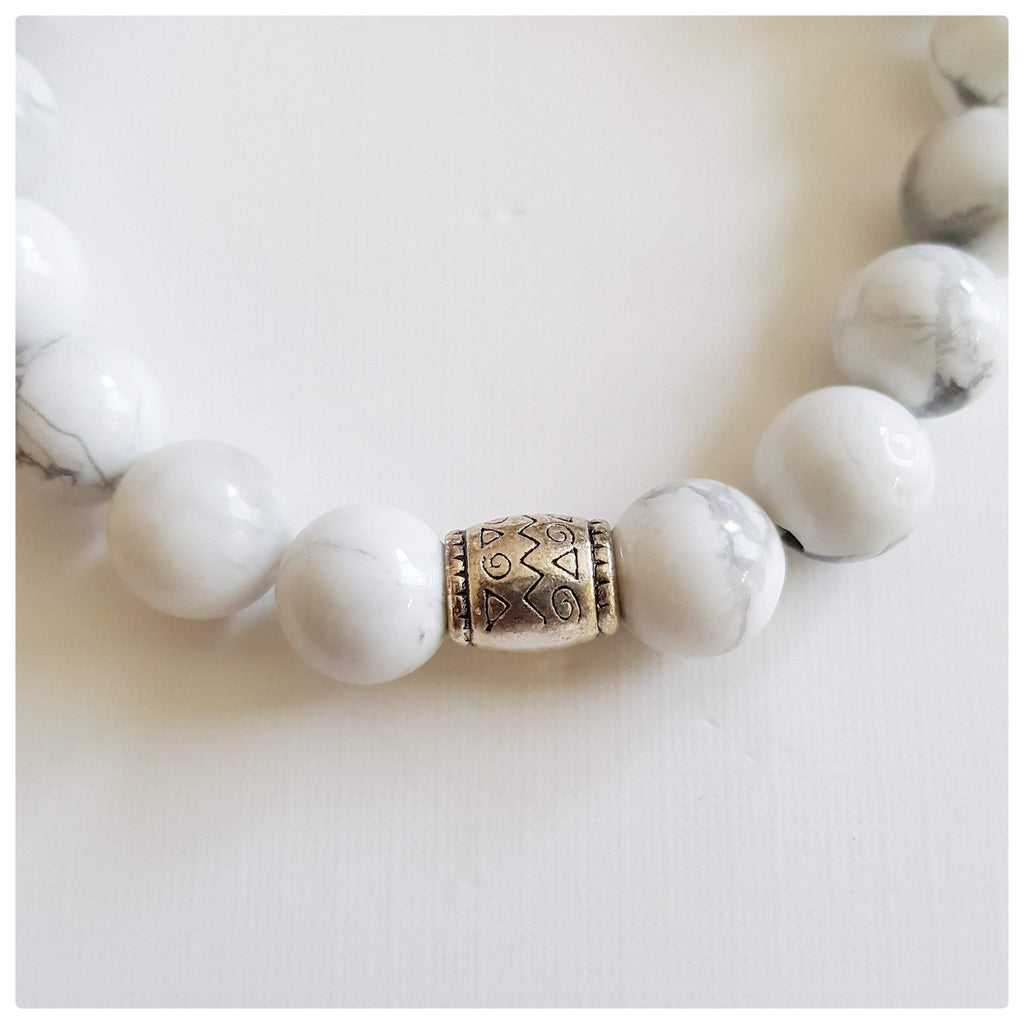Clarity, Forgiveness and Relaxation | Beaded Stretch Bracelet | Howlite Gemstone