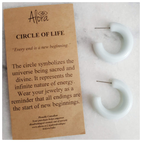 Hayah Resin Hoop Earrings - White - Alora Boutique - Jewelry with meaning that gives back fashion for good