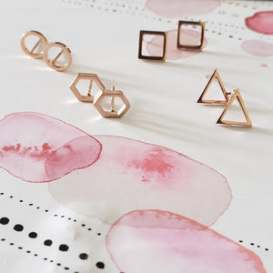 Mia - Minimalist Stud Earring Set Earrings Alora Boutique Rose Gold
