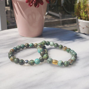Growth, Awareness, and Positivity | Beaded Stretch Bracelet | African Turquoise Gemstone