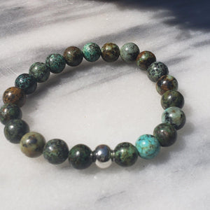 African Turquoise Gemstone Bracelet | Growth, Awareness, and Positivity Bracelets Alora Boutique Silver