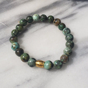 African Turquoise Gemstone Bracelet | Growth, Awareness, and Positivity Bracelets Alora Boutique Gold
