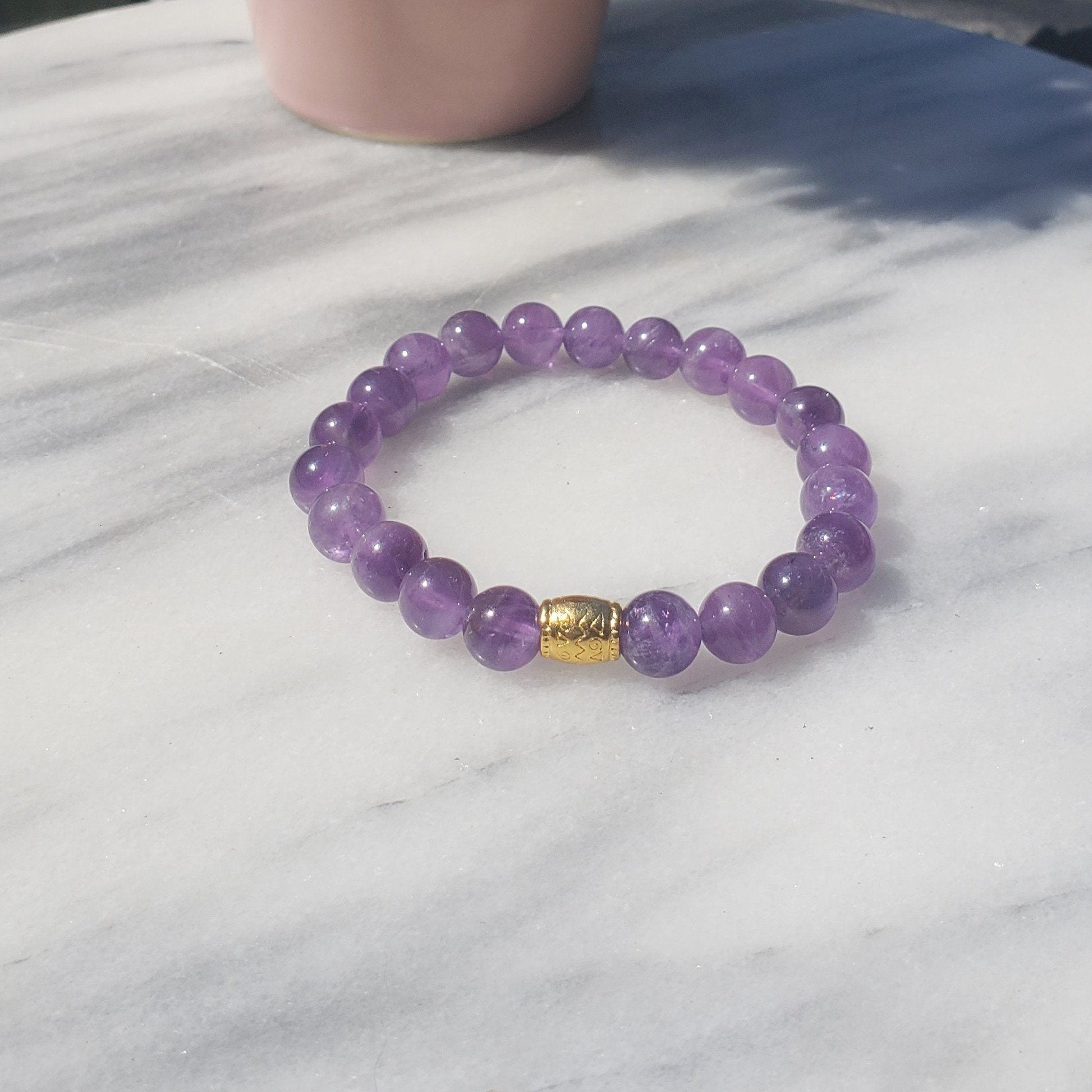 Awareness, Honesty and Inspiration | Beaded Stretch Bracelet | Amethyst Gemstone Bracelets Alora Boutique Gold