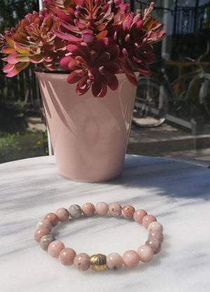 Nurturing, Safety, Stability | Beaded Stretch Bracelet | Plum Blossom Jasper Gemstone - Alora Boutique