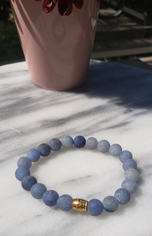 Calm, Positivity, Self-discipline | Beaded Stretch  Bracelet | Matte Blue Aventurine Gemstone - Alora Boutique