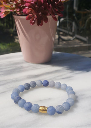 Calm, Positivity, Self-discipline | Beaded Stretch Bracelet | Matte Blue Aventurine Gemstone Bracelets Alora Boutique Gold