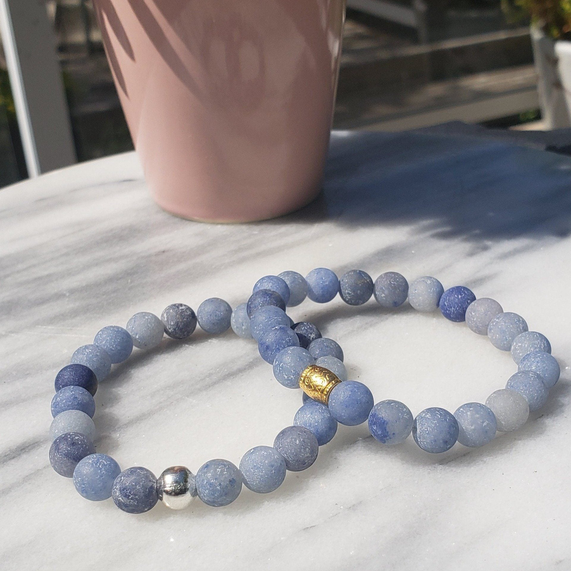 Calm, Positivity, Self-discipline | Beaded Stretch Bracelet | Matte Blue Aventurine Gemstone Bracelets Alora Boutique