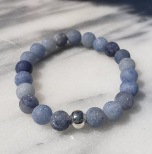 Calm, Positivity, Self-discipline | Beaded Stretch Bracelet | Matte Blue Aventurine Gemstone Bracelets Alora Boutique Silver