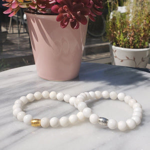 Calmness, Prosperity, Peace| Beaded Stretch Bracelet | White Jade Gemstone - Alora Boutique