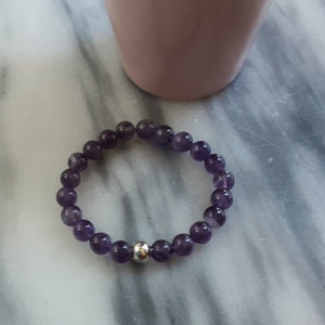 Awareness, Honesty and Inspiration | Beaded Stretch Bracelet | Amethyst Gemstone Bracelets Alora Boutique Silver