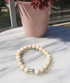 Transformation, Wisdom, Strength | Beaded Stretch Bracelet | Agatised Wood - Alora Boutique