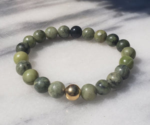 Peace, Serenity, Intuition | Beaded Stretch Bracelet | Taiwan Jade - Alora Boutique