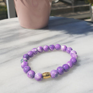 Peace, Serenity, Intuition | Beaded Stretch Bracelet | Dyed Jade - Alora Boutique