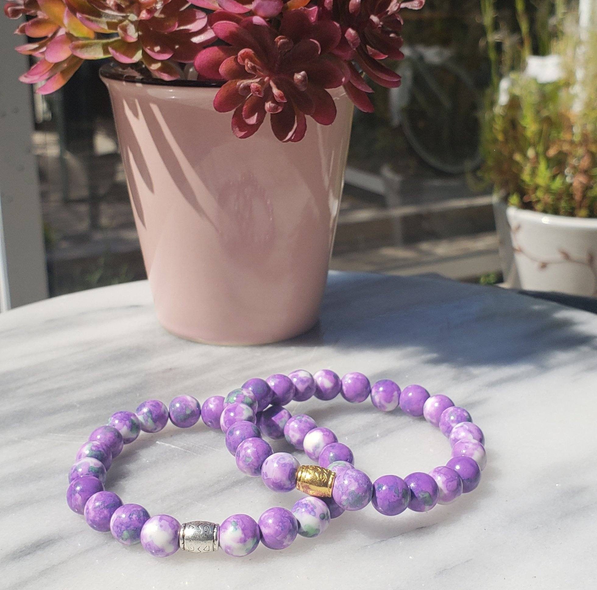 Purple Jade Gemstone Bracelet | Peace, Serenity, Intuition Bracelets Alora Boutique