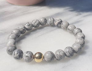 Grey Jasper Gemstone Bracelet Canada | Gentleness, Comfort and Relaxation Bracelets Alora Boutique Gold