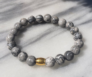 Gentleness, Comfort and Relaxation | Beaded Stretch Bracelet | Grey Jasper Gemstone