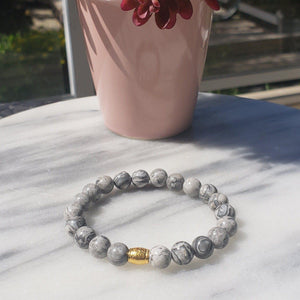 Grey Jasper Gemstone Bracelet Canada | Gentleness, Comfort and Relaxation Bracelets Alora Boutique Patterned Gold