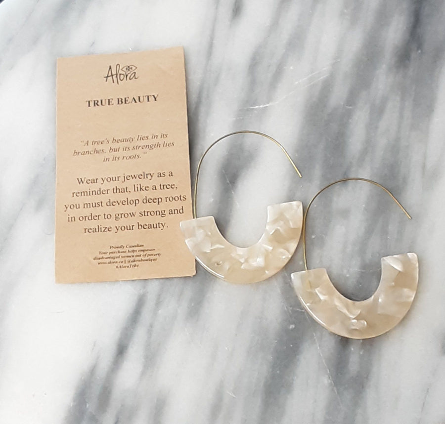 Janay Resin Hook Earrings - Marbled Peach Earrings Alora Boutique