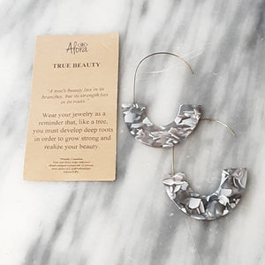 Janya Statement Hook Earrings - Marbled Grey Earrings Alora Boutique