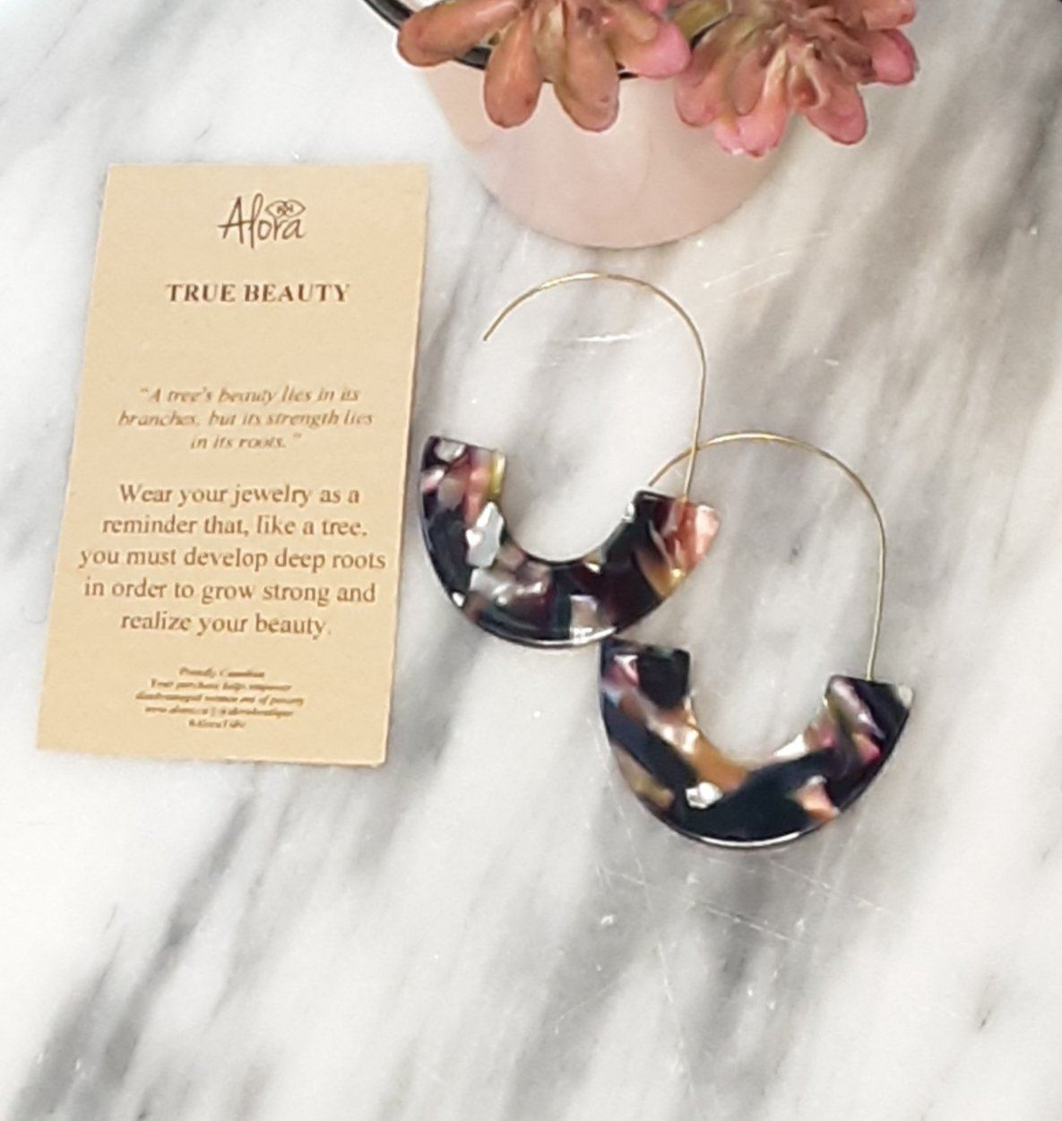 Janya Statement Resin Earrings - Marbled Multi - Alora Boutique