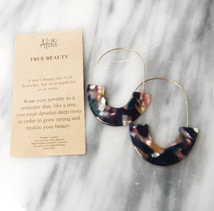 Janya Statement Resin Earrings - Marbled Multi Earrings Alora Boutique