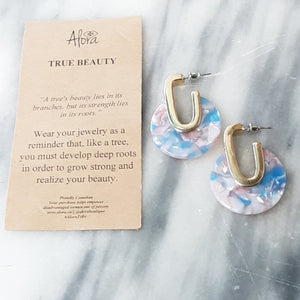 Valencia - True Beauty Resin Earrings - Blue Earrings Alora Boutique