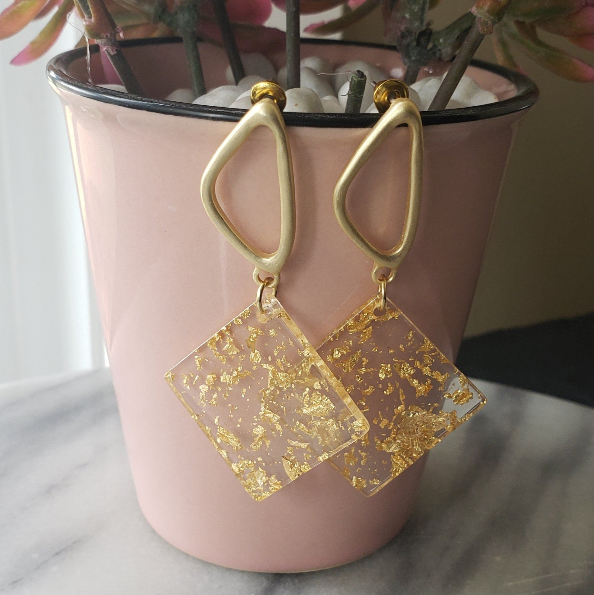 Serena - Resin Geometric Earrings Earrings Alora Boutique Diamond