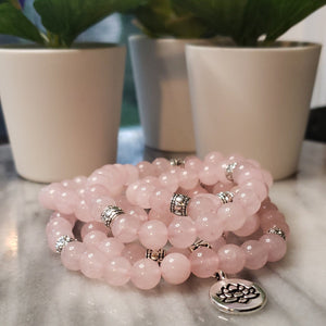 Mala Necklace Calgary Canada - Rose Quartz - Alora Boutique