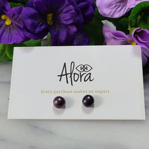 Pearl Stud Earrings Jewelry & Accessories - Earrings Alora Boutique Purple