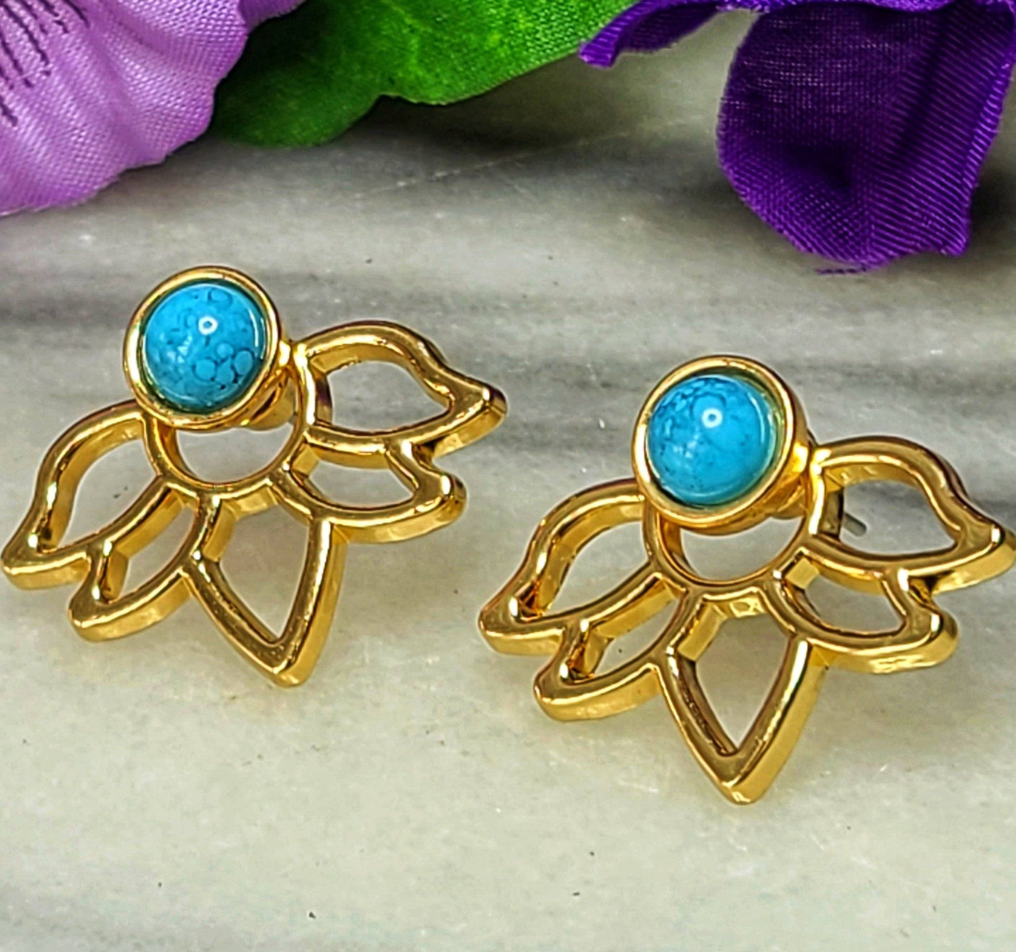 Lotus Earring Jackets Earrings Alora Boutique