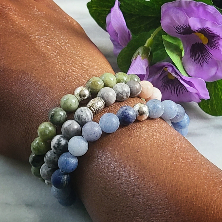 Set of Three Gemstone Bracelets | Taiwan Jade, Matte Blue Aventurine, Pink Zebra Jasper Gemstone Jewelry Alora Boutique