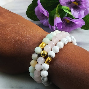 Howlite, Matte Amazonite, Rose Quartz | Beaded Stretch Bracelets | Set of Three Bracelets - Alora Boutique